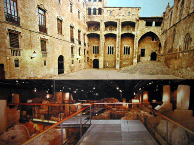Photo montage showing the museum ground and underground levels.