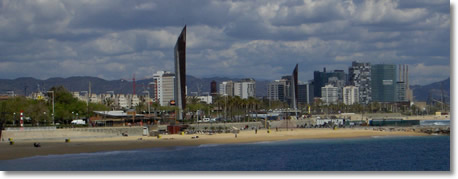 Barcelona Forum And Diagonal Mar District Seem From The Sea