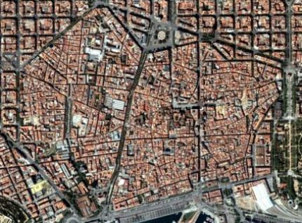 Aerial view of Barcelona Old Town